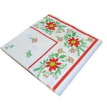 2 packs (40) WHITE NAPKINS with RED FLOWERS and LEAVES party picnic bbq